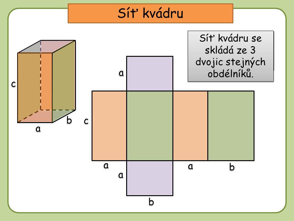 Síť kvádru b b a a c c b b a a c c b b a a a a a a Z kolika stěn bude tvořena síť kvádru.