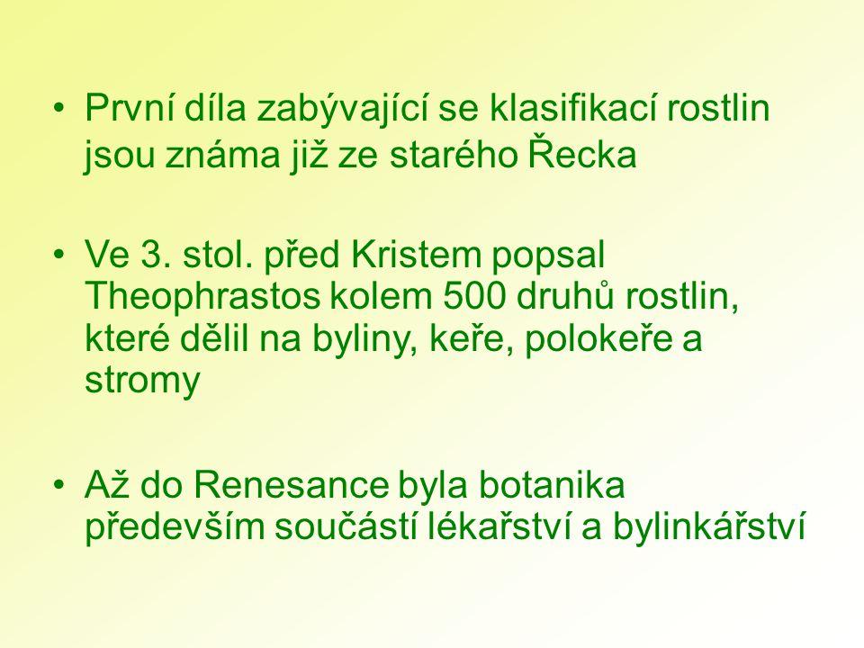 První díla zabývající se klasifikací rostlin jsou známa již ze starého Řecka Ve 3. stol. před Kristem popsal Theophrastos kolem 500 druhů rostlin, kte