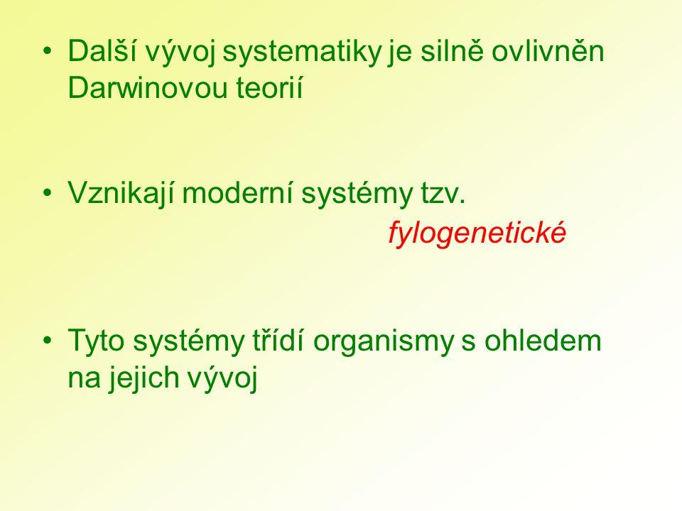 Další vývoj systematiky je silně ovlivněn Darwinovou teorií Vznikají moderní systémy tzv. Tyto systémy třídí organismy s ohledem na jejich vývoj fylog