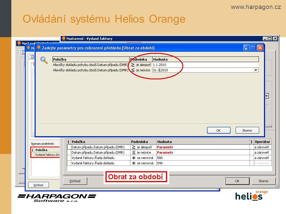 www.harpagon.cz Ovládání systému Helios Orange Funkce Nastav – Záložky 2 - Třídění a 3 - Podmínky- filtr
