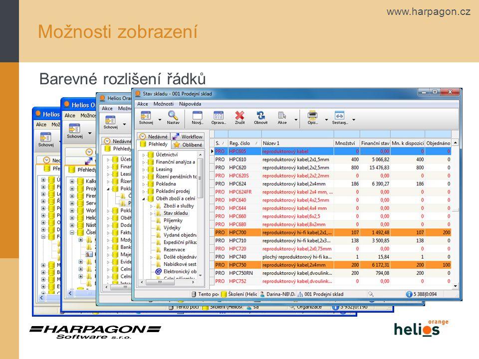 www.harpagon.cz Barevné rozlišení řádků Možnosti zobrazení
