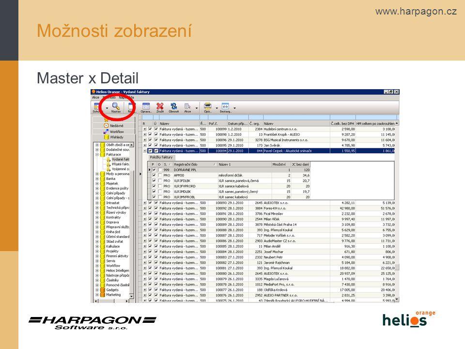 www.harpagon.cz Možnosti zobrazení Master x Detail