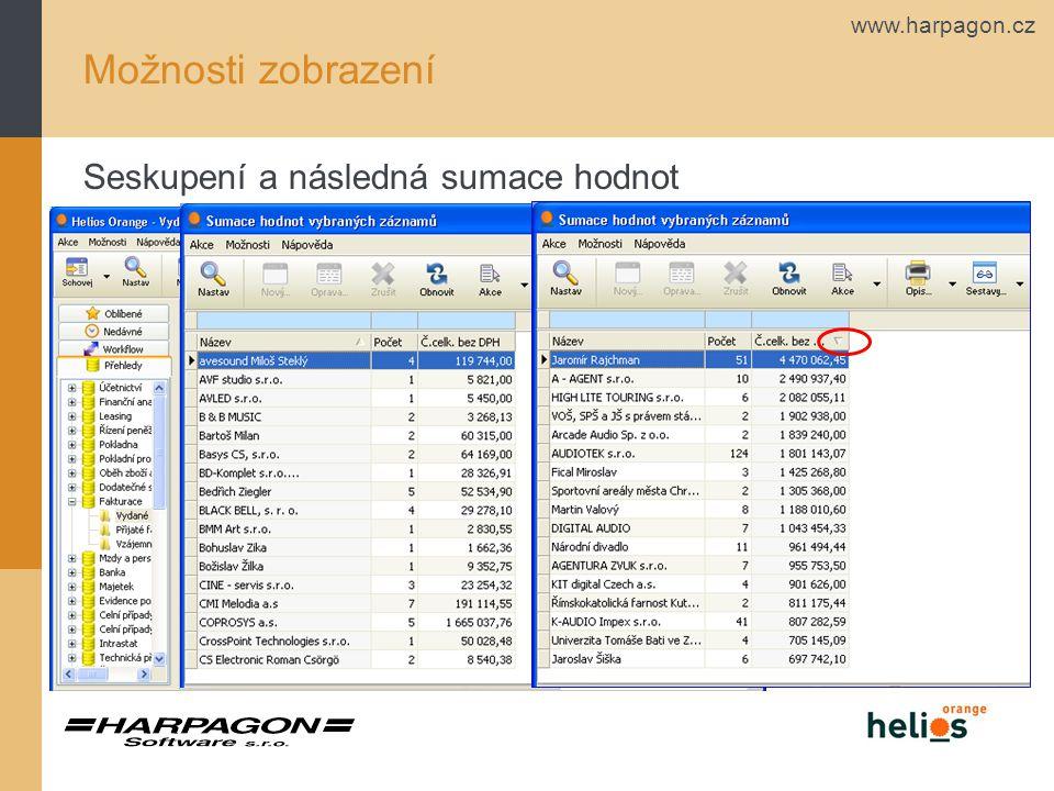 www.harpagon.cz Možnosti zobrazení Seskupení a následná sumace hodnot