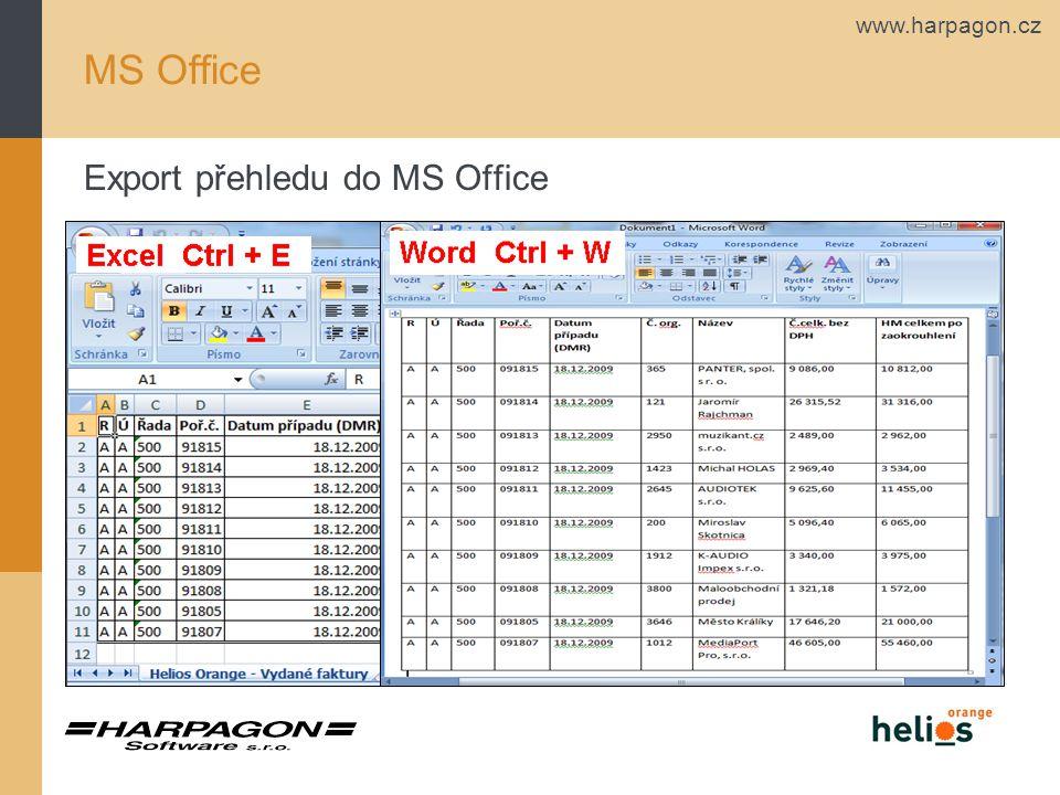 www.harpagon.cz MS Office Export přehledu do MS Office