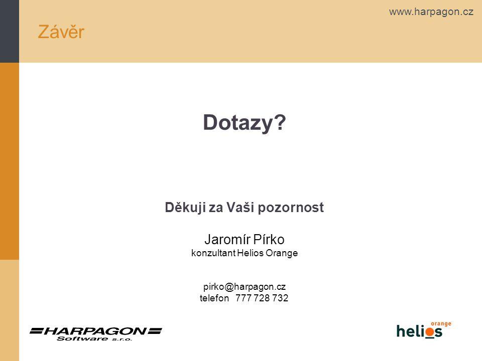www.harpagon.cz Závěr Dotazy? Děkuji za Vaši pozornost Jaromír Pírko konzultant Helios Orange pirko@harpagon.cz telefon 777 728 732