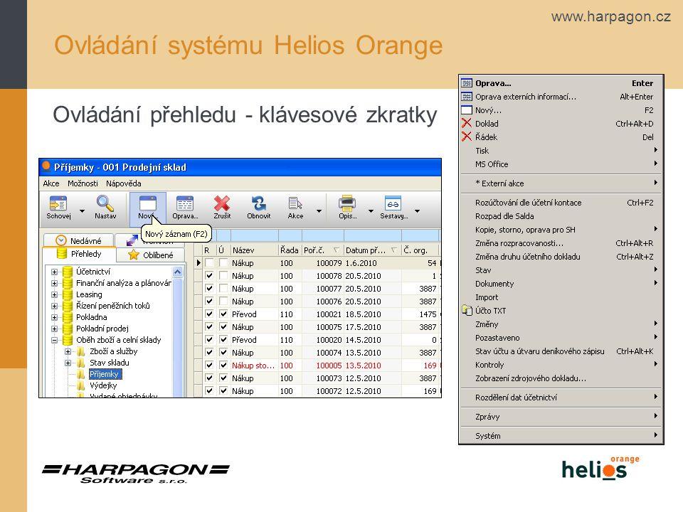 www.harpagon.cz Chybí vám v systému nějaké informace? Další funkce Helios Orange