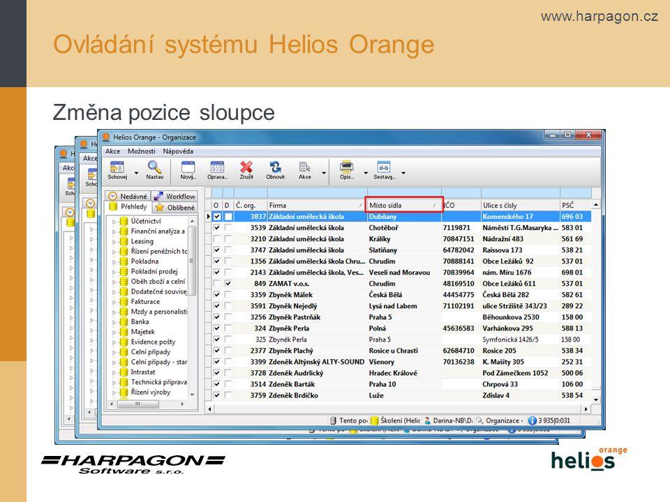 www.harpagon.cz Uživatelské konstanty lokální Ovládání systému Helios Orange