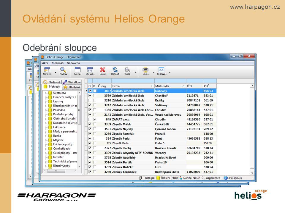 www.harpagon.cz Ovládání systému Helios Orange Zarovnání dat