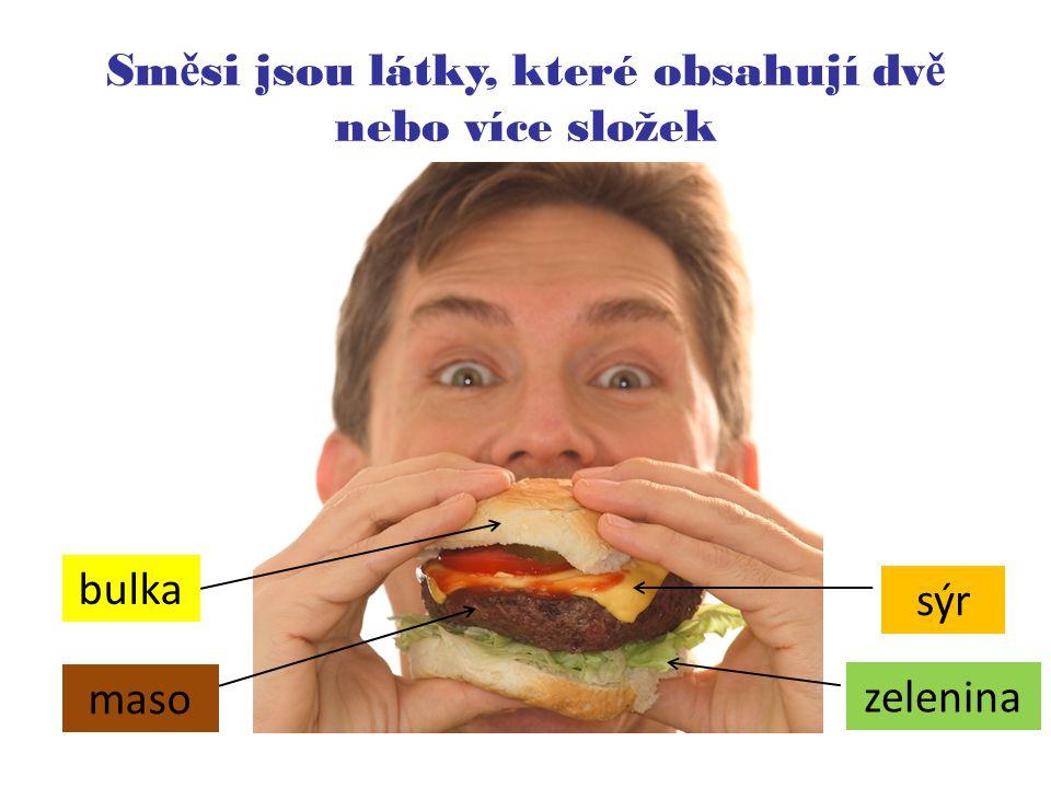 Sm ě si jsou látky, které obsahují dv ě nebo více složek bulka sýr maso zelenina