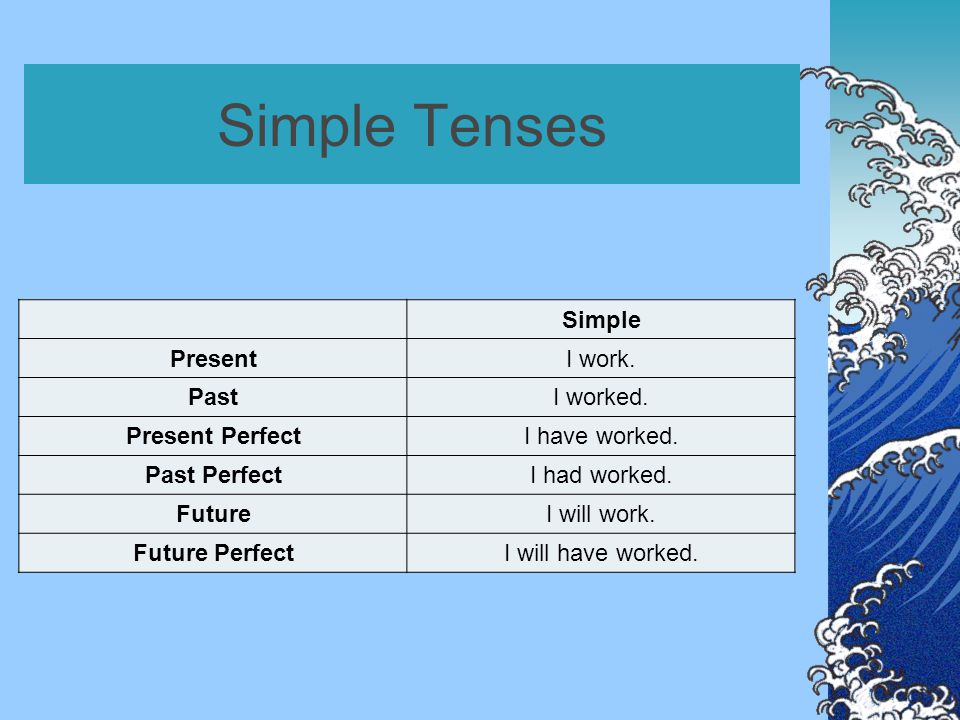 Simple Tenses Simple PresentI work. PastI worked.