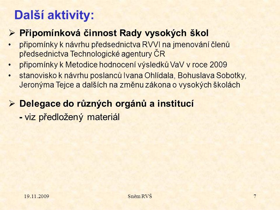 19.11.2009Sněm RVŠ7 Další aktivity:  Připomínková činnost Rady vysokých škol připomínky k návrhu předsednictva RVVI na jmenování členů předsednictva
