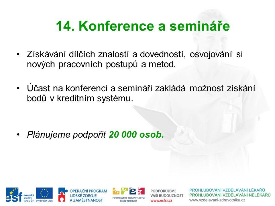 14. Konference a semináře Získávání dílčích znalostí a dovedností, osvojování si nových pracovních postupů a metod. Účast na konferenci a semináři zak