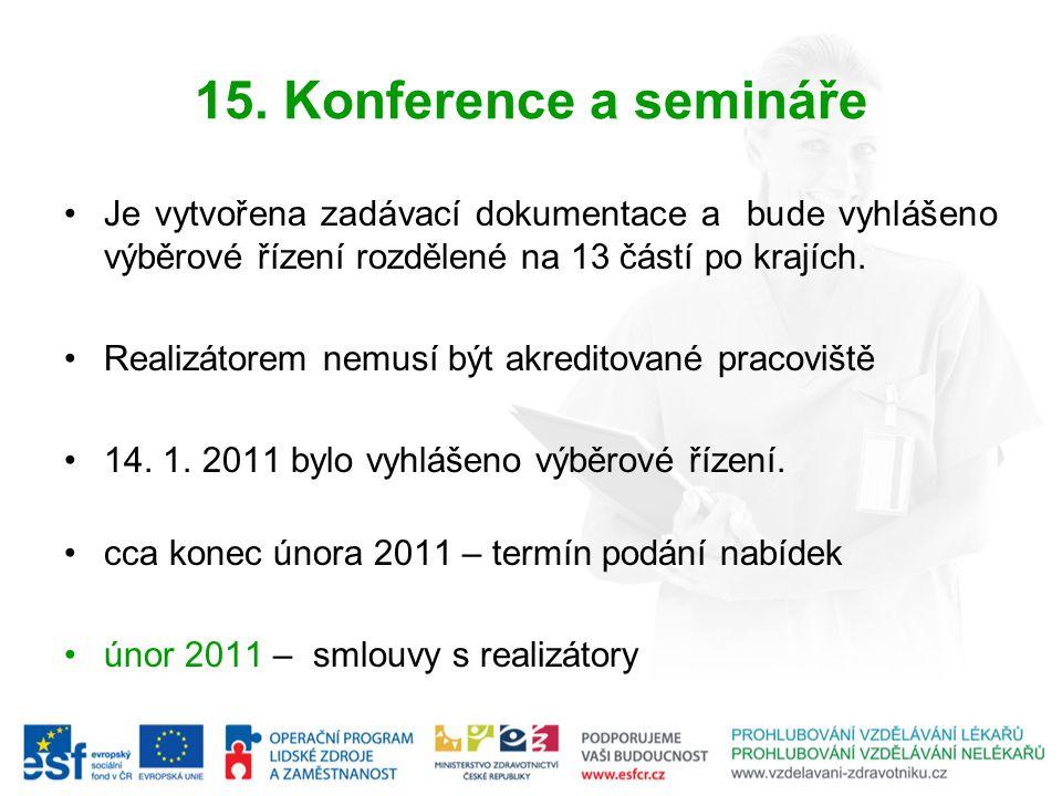 15. Konference a semináře Je vytvořena zadávací dokumentace a bude vyhlášeno výběrové řízení rozdělené na 13 částí po krajích. Realizátorem nemusí být