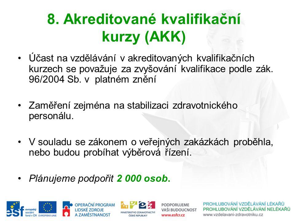8. Akreditované kvalifikační kurzy (AKK) Účast na vzdělávání v akreditovaných kvalifikačních kurzech se považuje za zvyšování kvalifikace podle zák. 9