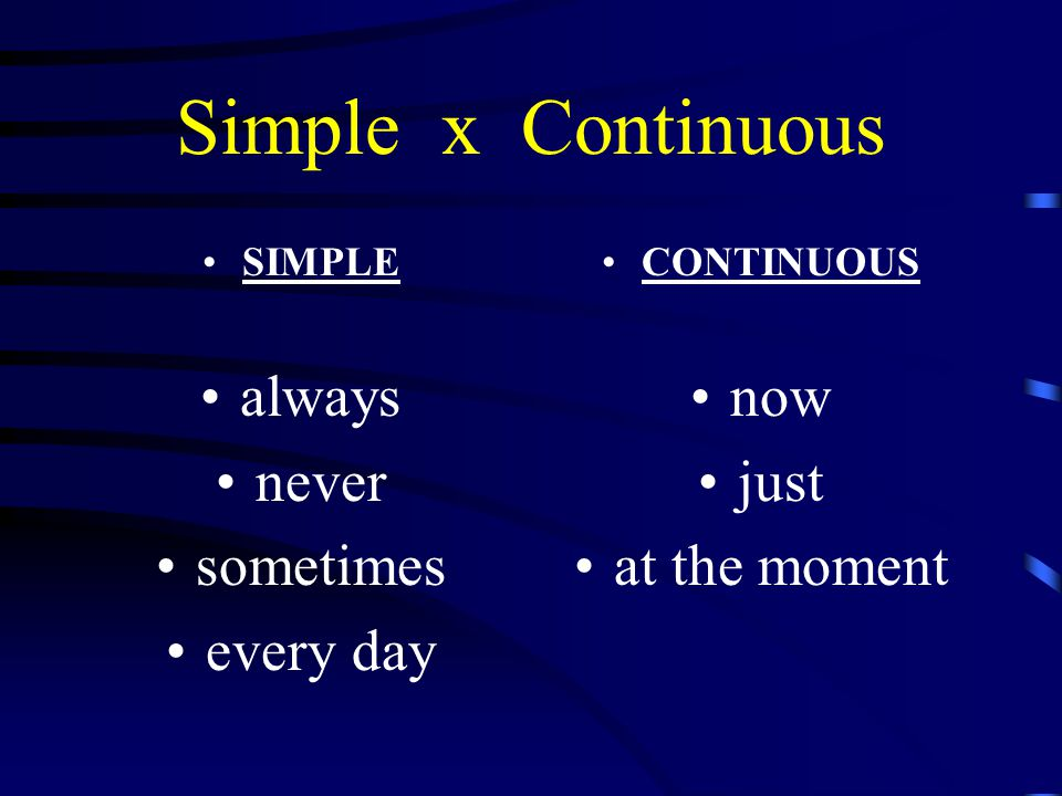 Simple x Continuous SIMPLE I go to school every day.