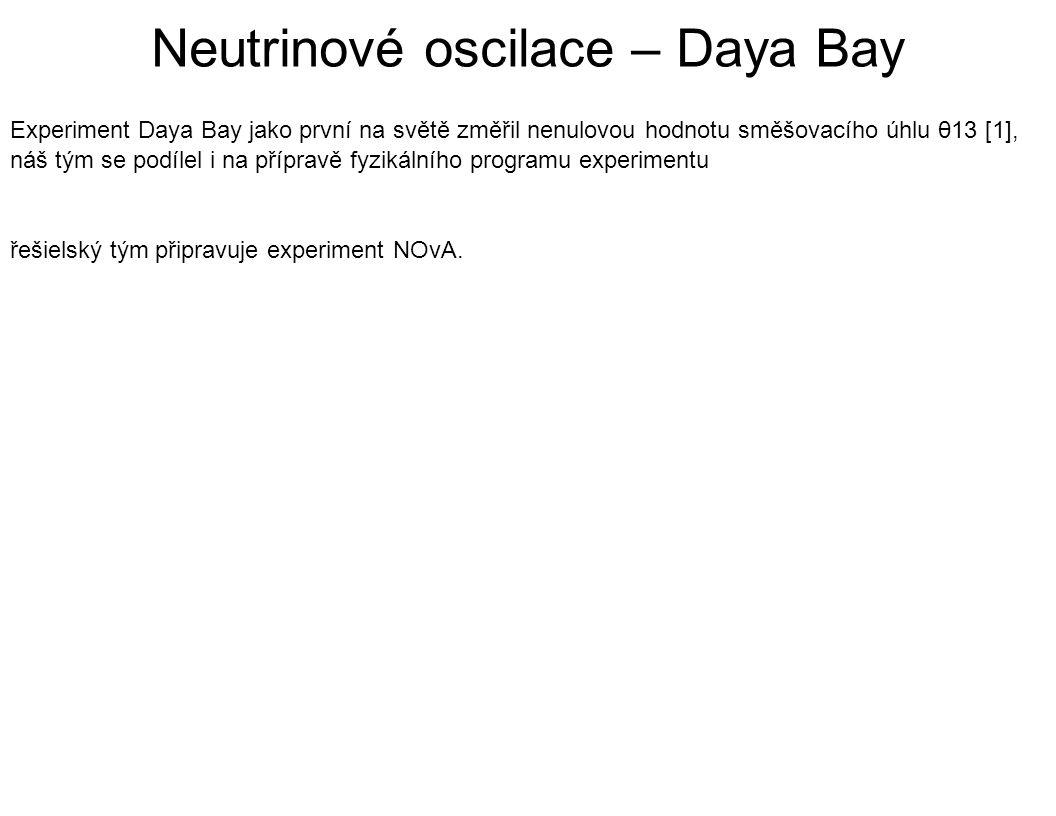 Experiment Daya Bay jako první na světě změřil nenulovou hodnotu směšovacího úhlu θ13 [1], náš tým se podílel i na přípravě fyzikálního programu experimentu řešielský tým připravuje experiment NOvA.