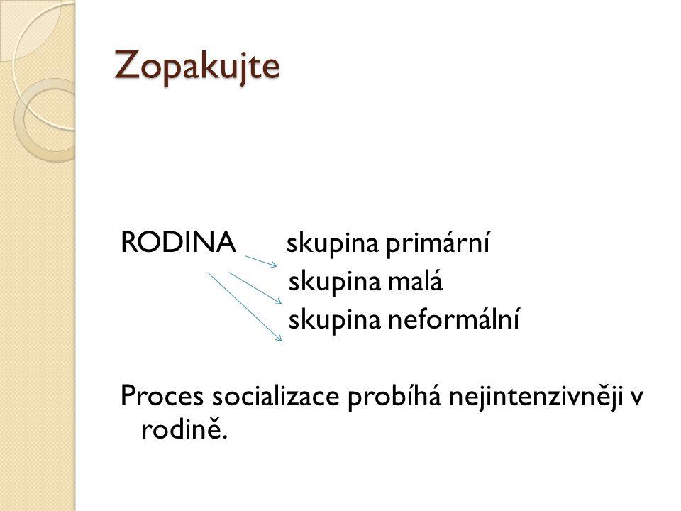 Zopakujte RODINA skupina primární skupina malá skupina neformální Proces socializace probíhá nejintenzivněji v rodině.