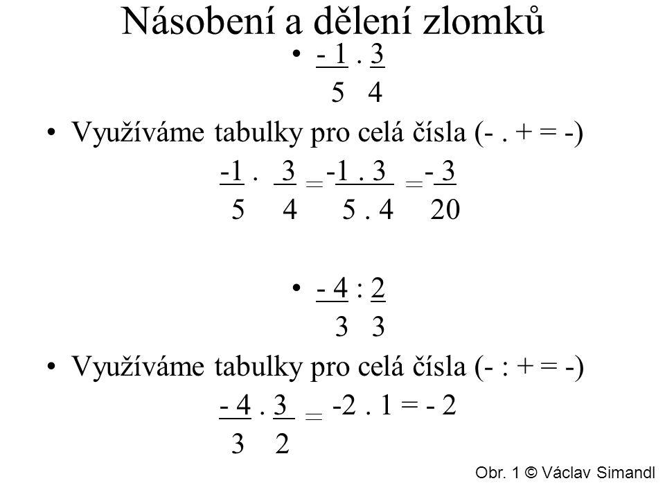 Násobení a dělení zlomků - 1.3 5 4 Využíváme tabulky pro celá čísla (-.
