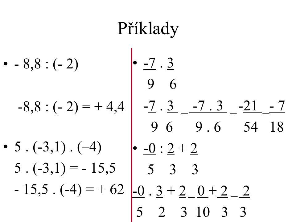Příklady - 8,8 : (- 2) -8,8 : (- 2) = + 4,4 5.(-3,1).