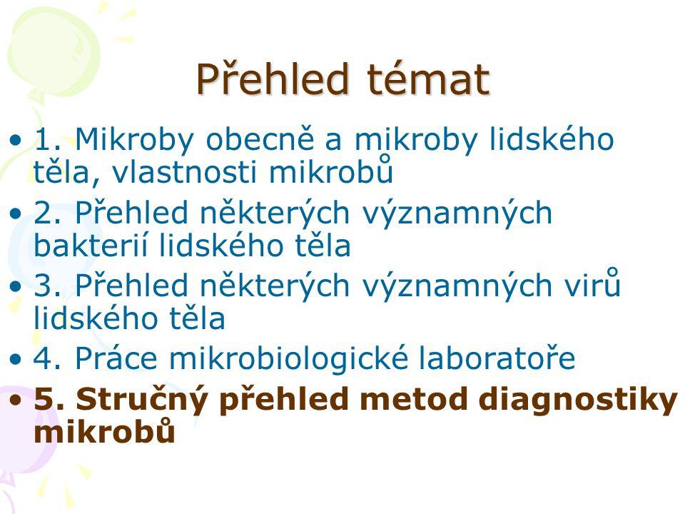 Přehled témat 1. Mikroby obecně a mikroby lidského těla, vlastnosti mikrobů 2. Přehled některých významných bakterií lidského těla 3. Přehled některýc