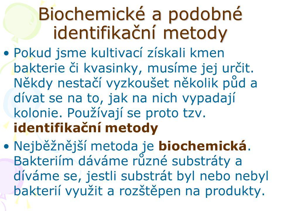 Biochemické a podobné identifikační metody Pokud jsme kultivací získali kmen bakterie či kvasinky, musíme jej určit. Někdy nestačí vyzkoušet několik p