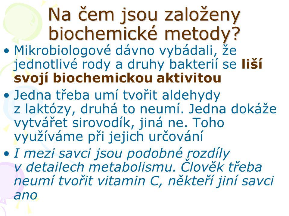 Na čem jsou založeny biochemické metody? Mikrobiologové dávno vybádali, že jednotlivé rody a druhy bakterií se liší svojí biochemickou aktivitou Jedna