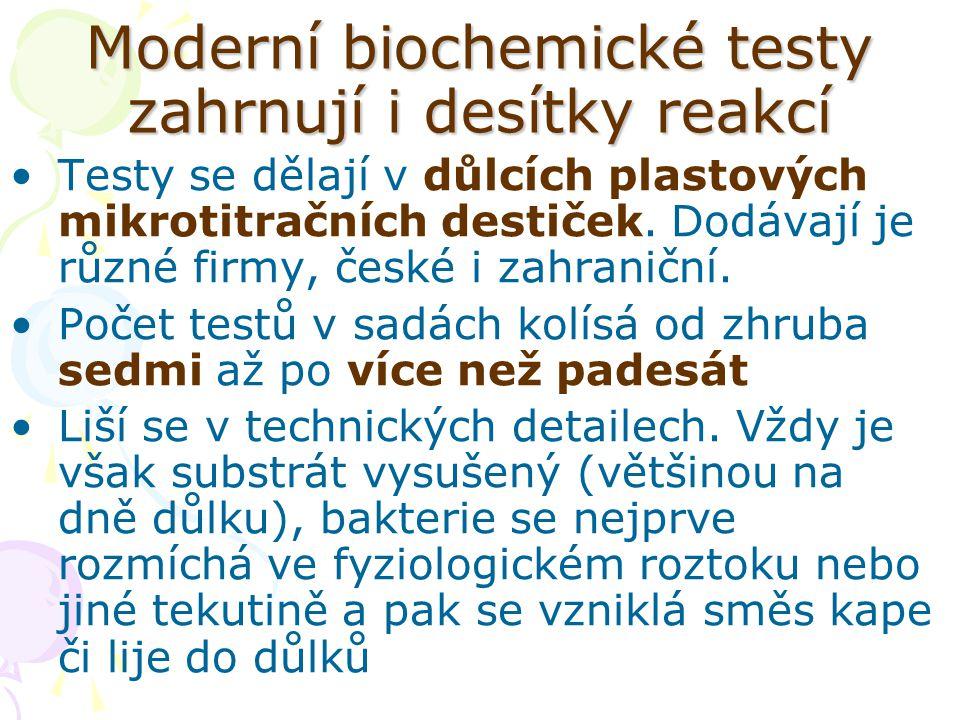 Moderní biochemické testy zahrnují i desítky reakcí Testy se dělají v důlcích plastových mikrotitračních destiček. Dodávají je různé firmy, české i za