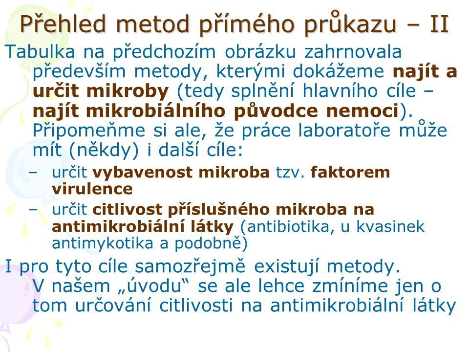 Přehled metod přímého průkazu – II Tabulka na předchozím obrázku zahrnovala především metody, kterými dokážeme najít a určit mikroby (tedy splnění hla