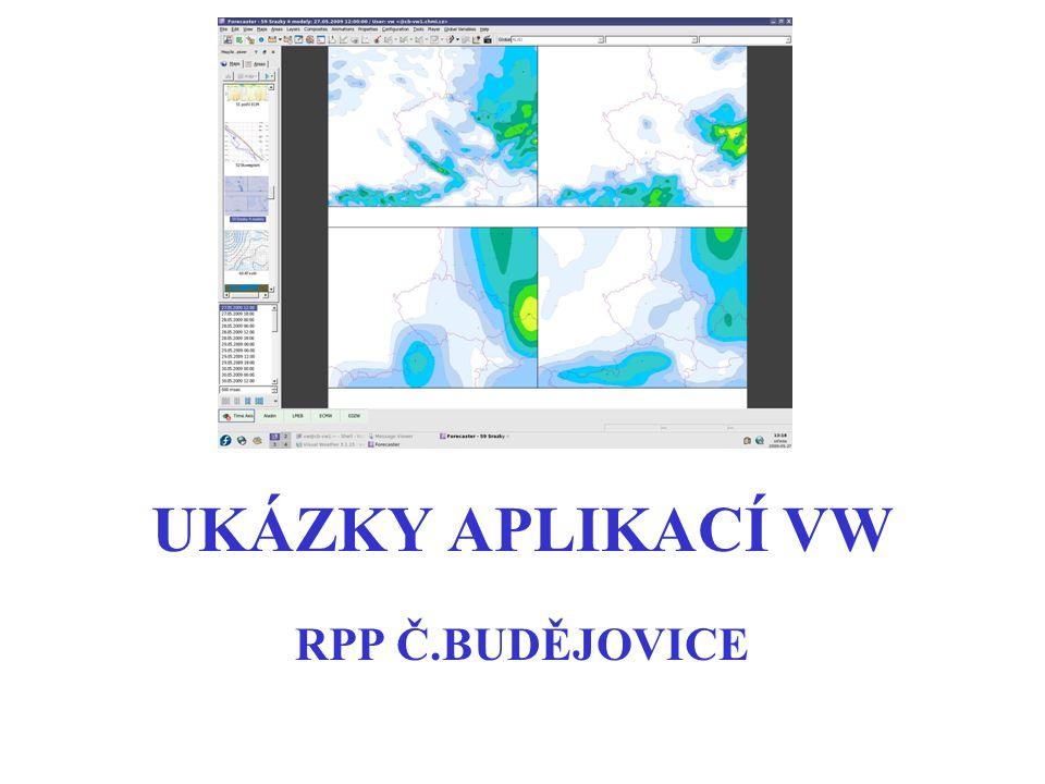 VŠEOBECNÁ SITUACE černé čáry - tlak na hl.moře barevné pole - AT500 červená čísla - teplota v hladině 850 hPa zelené šrafování - rel.vlhkost > 85% (oblačnost) svisle v hladině 700, vodorovně v 850 hPa (náhrada za tzv.čtyřčata) Modely EDZW (+7d), ECMF(+10d)