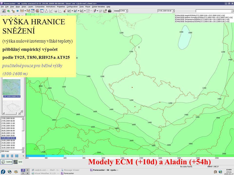 VÝŠKA HRANICE SNĚŽENÍ (výška nulové izotermy vlhké teploty) přibližný empirický výpočet podle T925, T850, RH925 a AT925 použitelné pouze pro běžné výš
