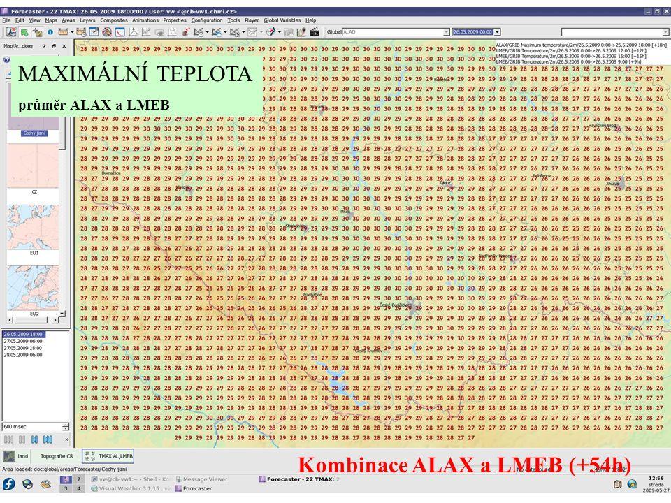 MAXIMÁLNÍ TEPLOTA průměr ALAX a LMEB Kombinace ALAX a LMEB (+54h)