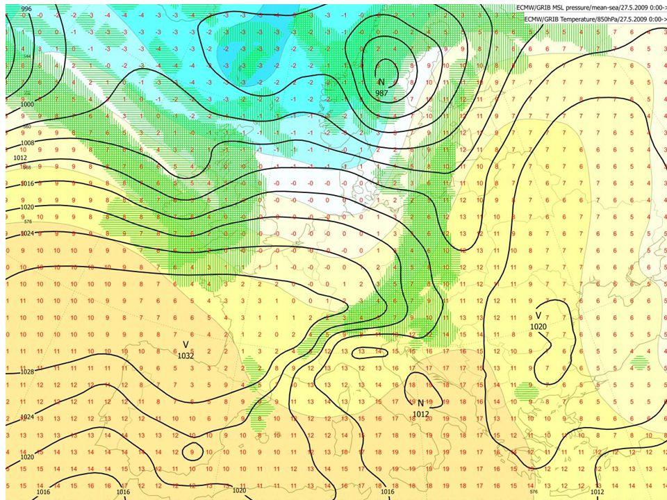 METEOGRAM výškový profil větru (500,850,zem) nárazy větru oblačnost vysoká střední, nízká, celková rel.vlhkost při zemi srážky za 6 h CAPE teplota při zemi a v 850 tlak na hl.moře Model ECM (+10d)
