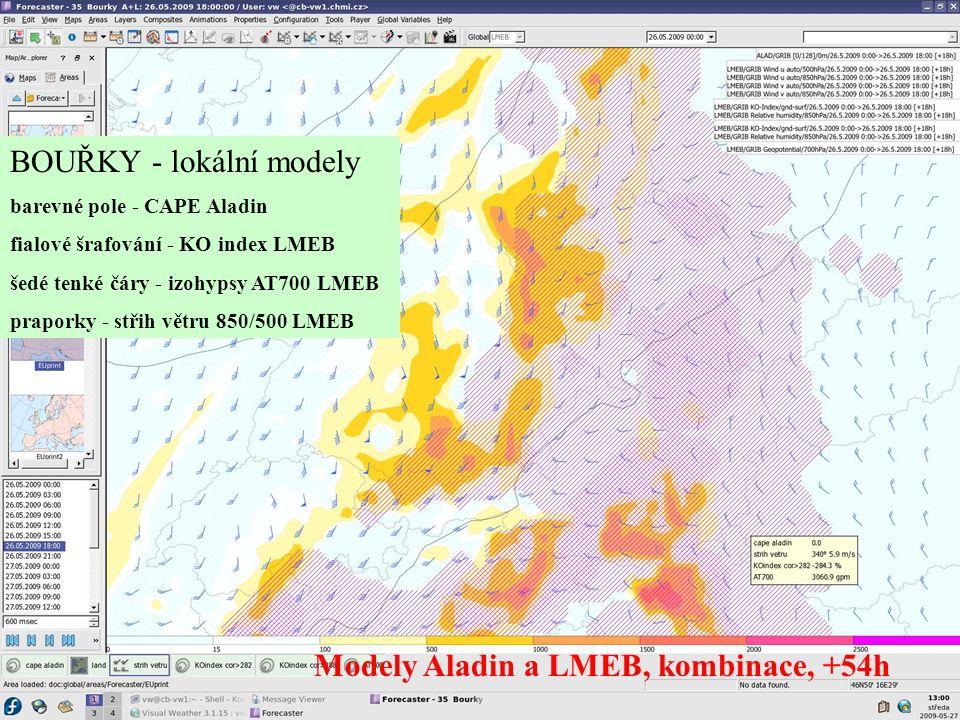 BOUŘKY - lokální modely barevné pole - CAPE Aladin fialové šrafování - KO index LMEB šedé tenké čáry - izohypsy AT700 LMEB praporky - střih větru 850/