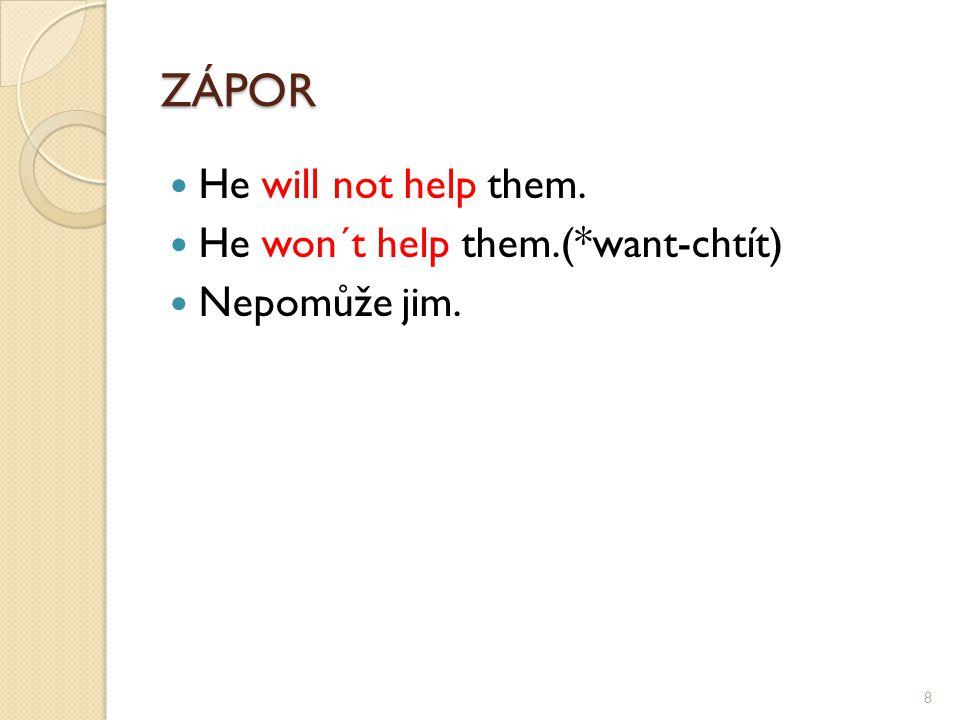 ZÁPOR He will not help them. He won´t help them.(*want-chtít) Nepomůže jim. 8
