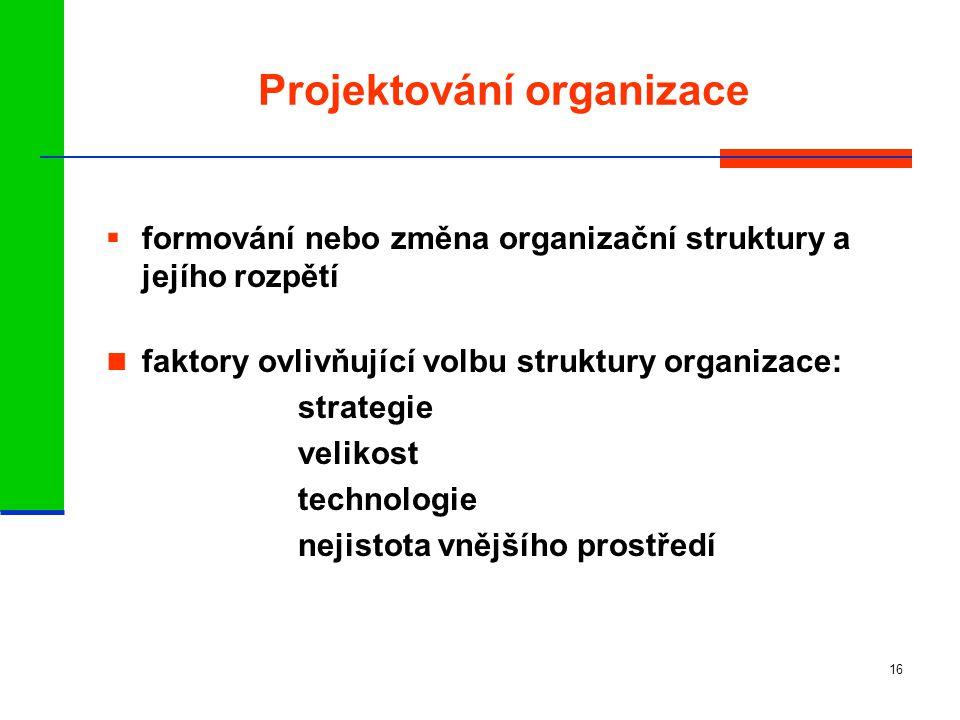16 Projektování organizace  formování nebo změna organizační struktury a jejího rozpětí faktory ovlivňující volbu struktury organizace: strategie velikost technologie nejistota vnějšího prostředí