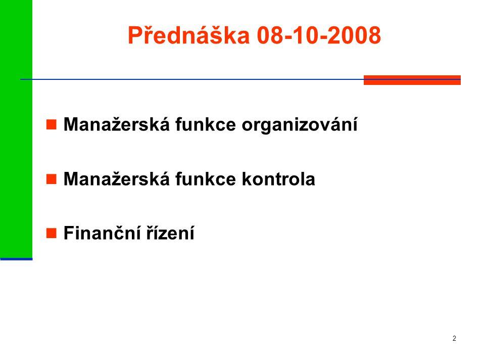 2 Přednáška 08-10-2008 Manažerská funkce organizování Manažerská funkce kontrola Finanční řízení