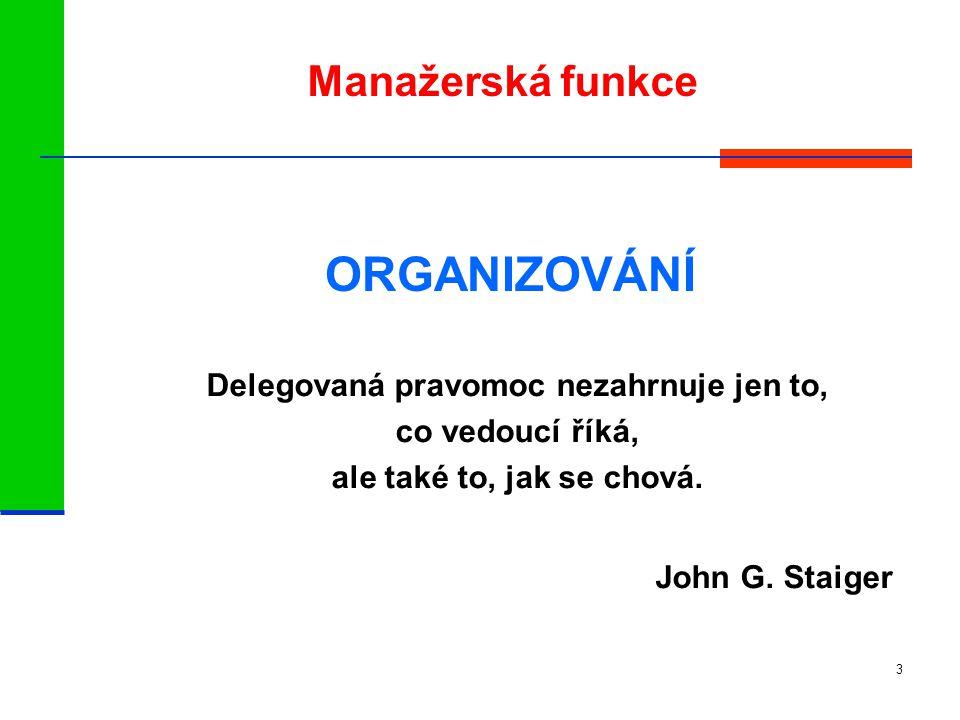 3 Manažerská funkce ORGANIZOVÁNÍ Delegovaná pravomoc nezahrnuje jen to, co vedoucí říká, ale také to, jak se chová.