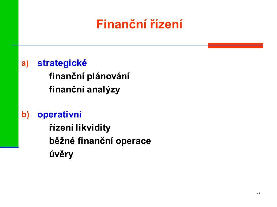 32 Finanční řízení a) strategické finanční plánování finanční analýzy b) operativní řízení likvidity běžné finanční operace úvěry