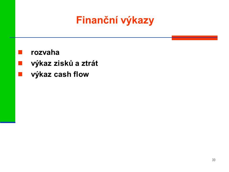 33 Finanční výkazy rozvaha výkaz zisků a ztrát výkaz cash flow
