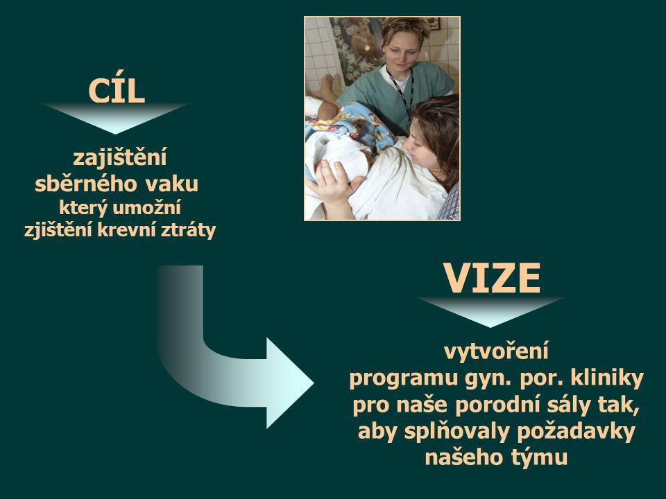 CÍL zajištění sběrného vaku který umožní zjištění krevní ztráty VIZE vytvoření programu gyn.