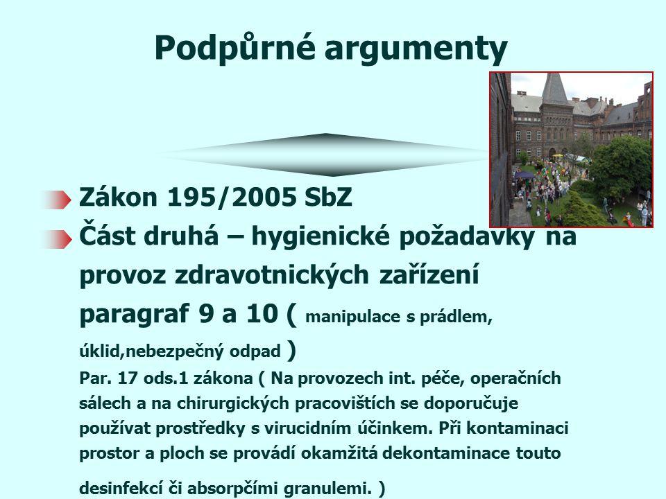 Podpůrné argumenty Zákon 195/2005 SbZ Část druhá – hygienické požadavky na provoz zdravotnických zařízení paragraf 9 a 10 ( manipulace s prádlem, úklid,nebezpečný odpad ) Par.