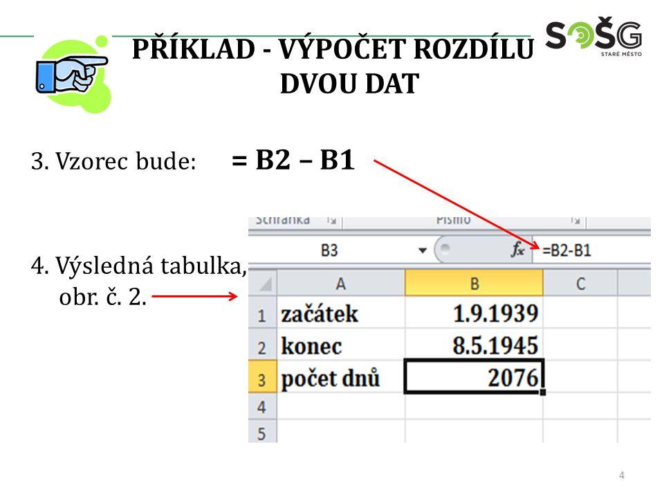 PŘÍKLAD - VÝPOČET ROZDÍLU DVOU DAT 3. Vzorec bude: = B2 – B1 4. Výsledná tabulka, obr. č. 2. 4