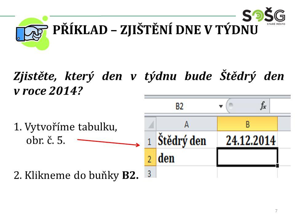 PŘÍKLAD – ZJIŠTĚNÍ DNE V TÝDNU Zjistěte, který den v týdnu bude Štědrý den v roce 2014? 1. Vytvoříme tabulku, obr. č. 5. 2. Klikneme do buňky B2. 7