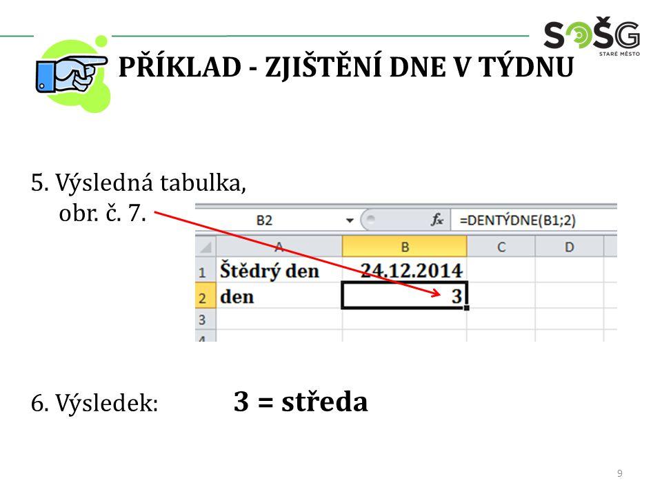 PŘÍKLAD - ZJIŠTĚNÍ DNE V TÝDNU 5. Výsledná tabulka, obr. č. 7. 6. Výsledek: 3 = středa 9
