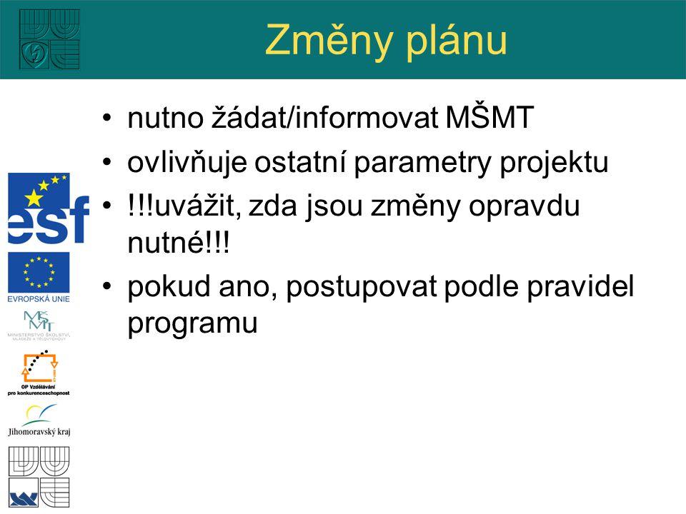 Změny plánu nutno žádat/informovat MŠMT ovlivňuje ostatní parametry projektu !!!uvážit, zda jsou změny opravdu nutné!!.