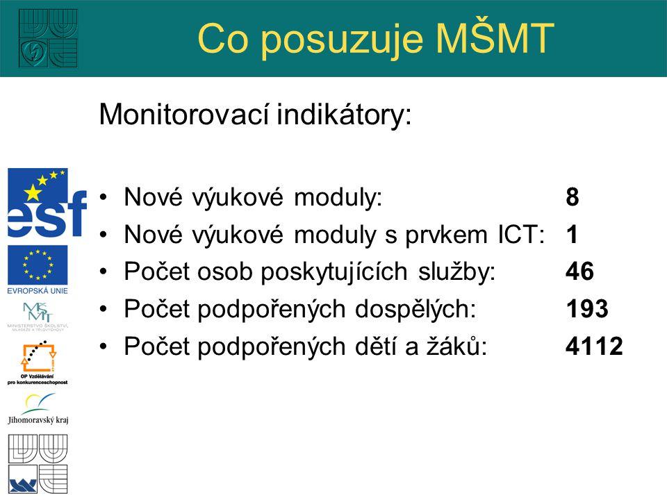 Co posuzuje MŠMT Monitorovací indikátory: Nové výukové moduly:8 Nové výukové moduly s prvkem ICT: 1 Počet osob poskytujících služby: 46 Počet podpořených dospělých: 193 Počet podpořených dětí a žáků: 4112