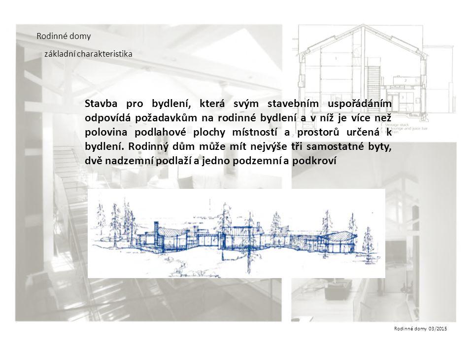 Rodinné domy 03/2015 Rodinné domy základní charakteristika Světlá výška obytných místností v rodinném domě a pobytových místností ve stavbě pro rodinnou rekreaci musí být nejméně 2500 mm, v podkroví 2300 mm.