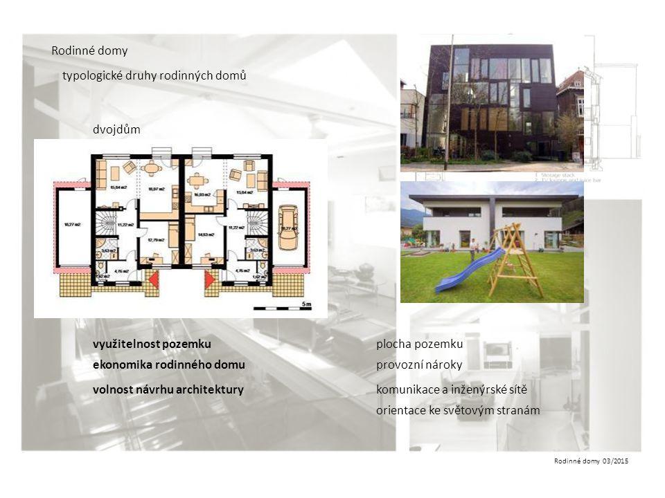 Rodinné domy 03/2015 Rodinné domy typologické druhy rodinných domů dvojdům využitelnost pozemku ekonomika rodinného domu volnost návrhu architektury p