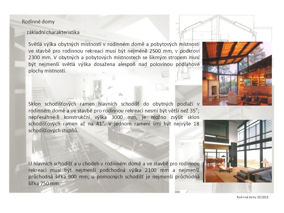 Rodinné domy 03/2015 Rodinné domy základní charakteristika Světlá výška obytných místností v rodinném domě a pobytových místností ve stavbě pro rodinn