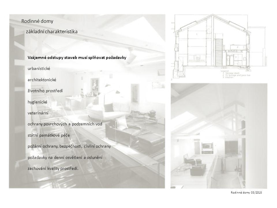 Rodinné domy 03/2015 Rodinné domy základní charakteristika Vzájemné odstupy staveb Odstupy musí dále umožňovat údržbu staveb a užívání prostoru mezi stavbami pro technická či jiná vybavení a činnosti například technickou infrastrukturu.